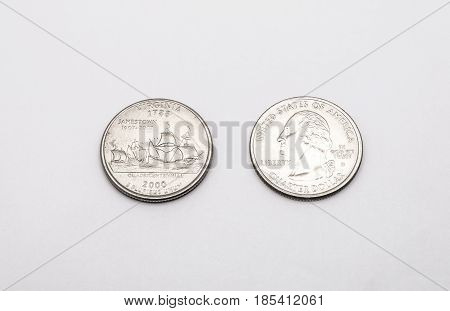 Closeup To Virginia State Symbol On Quarter Dollar Coin On White Background