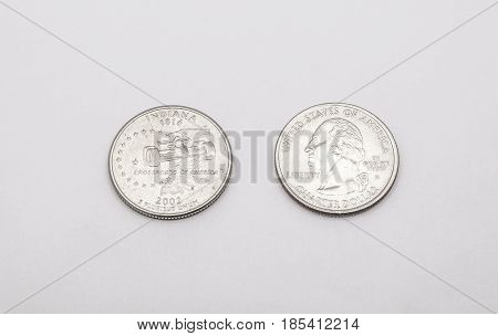 Closeup To Indiana State Symbol On Quarter Dollar Coin On White Background