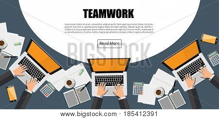 People working on Computer Laptop. Team working process Concept.