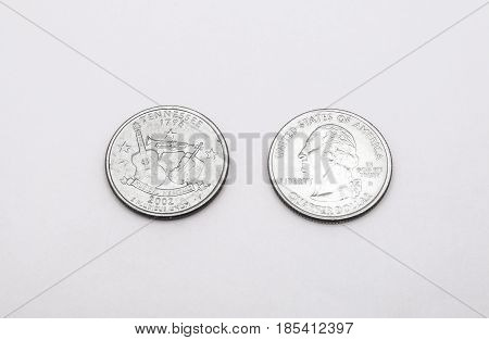 Closeup To Tennessee State Symbol On Quarter Dollar Coin On White Background
