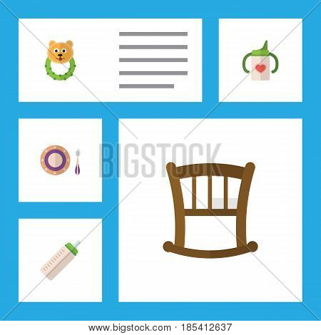 Flat Baby Set Of Rattle, Infant Cot, Baby Plate And Other Vector Objects. Also Includes Bear, Plate, Bottle Elements.