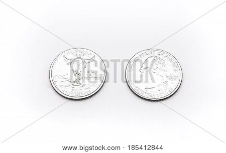 Closeup To Montana State Symbol On Quarter Dollar Coin On White Background