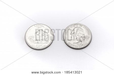 Closeup To Kansas State Symbol On Quarter Dollar Coin On White Background