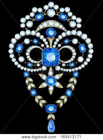 Brooch with diamonds and sapphires on a black background
