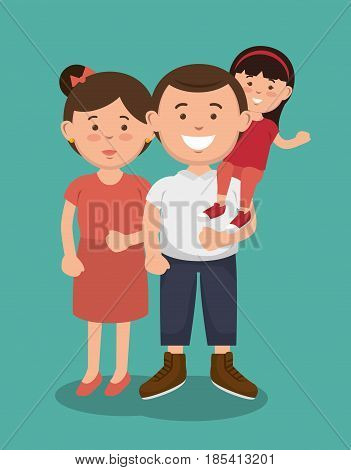 Woman next to man carrying a small girl on his shoulders. Vector illustration.