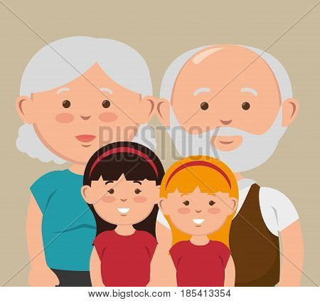 Grandparents and their grandchildren posing together over beige background. Vector illustration.