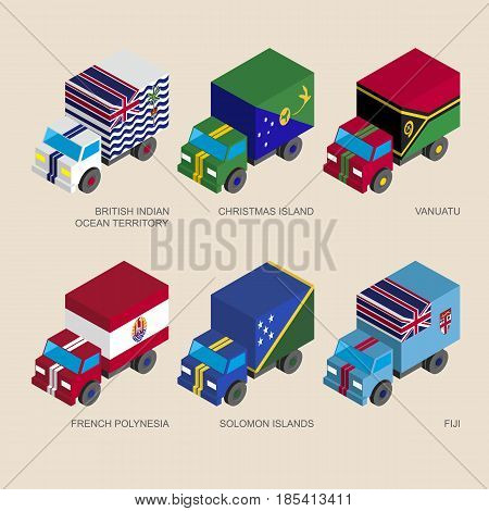 Isometric 3d cargo trucks with flags of countries in Oceania. Cars with standards - Kiribati, Tokelau, Cook Islands, Tonga, Niue, Tuvalu.