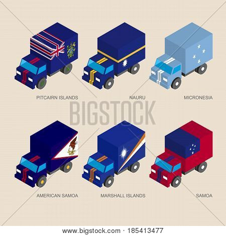Isometric 3d cargo trucks with flags of countries in Oceania. Cars with standards - Pitcairn Islands, Nauru, Micronesia, Samoa, American Samoa, Marshall Islands. Design elements for infographics.