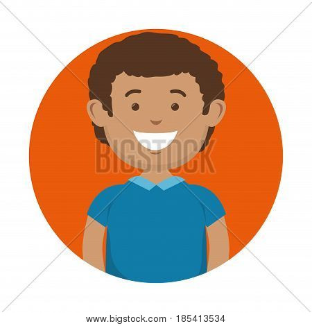 A brunette smiling man icon over orange and white background. Vector illustration.