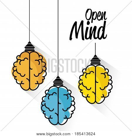 Brain-shaped colorful lamps with open mind sign over white background. Vector illustration.