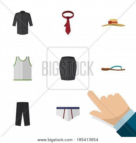 Flat Garment Set Of Uniform, Cravat, Singlet And Other Vector Objects. Also Includes Flop, Uniform, Leggings Elements.
