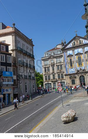 PORTO, PORTUGAL - APRIL 17: Street view of Porto in Portugal on April 17, 2017. Sao Bento railway station, Porto is the second largest city in Portugal after Lisbon.