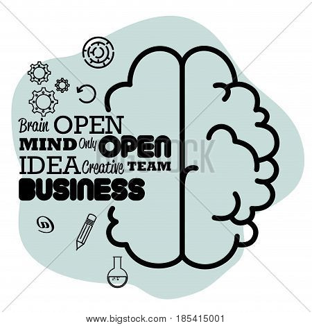 Human brain, words related to ideas with gear wheels, pencil and flask over blue and white background. Vector illustration.