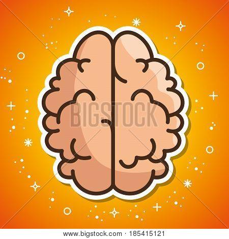 Brain sticker over orange background. Vector illustration.