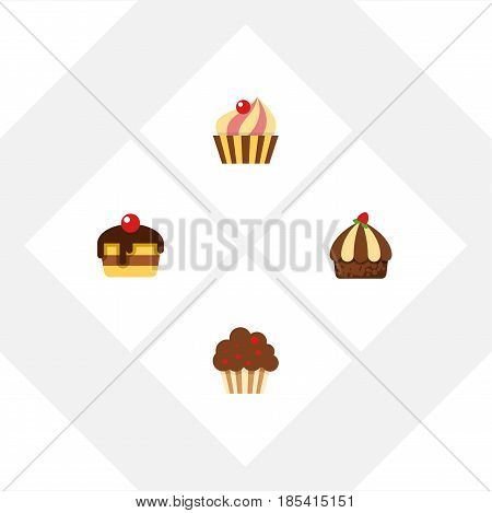 Flat Cake Set Of Cupcake, Dessert, Sweetmeat And Other Vector Objects. Also Includes Muffin, Sweetmeat, Confectionery Elements.
