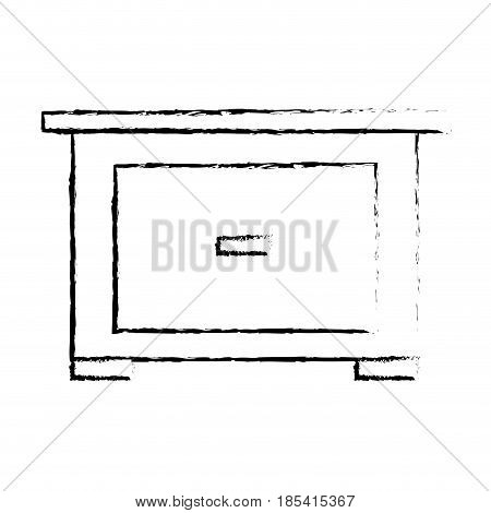 bedside table furniture modern style image sketch vector illustration