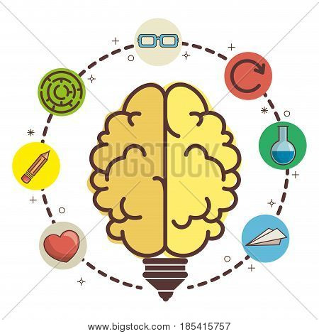 Brain-shaped light bulb surrounded by heart, pencil, maze, glasses, circular arrow, flask and paper plane over white background. Vector illustration.