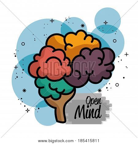 Colorful brain icon with open mind sign over blue, gray and white background. Vector illustration.