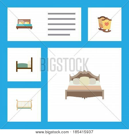 Flat Bedroom Set Of Bedroom, Hostel, Cot And Other Vector Objects. Also Includes Hostel, Mattress, Cot Elements.