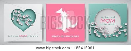 Set of green and pink greeting card for mother's day. Women and baby silhouettes with congratulations text cuted heart decorated cherry flowers paper cut style. Vector illustration layers isolated
