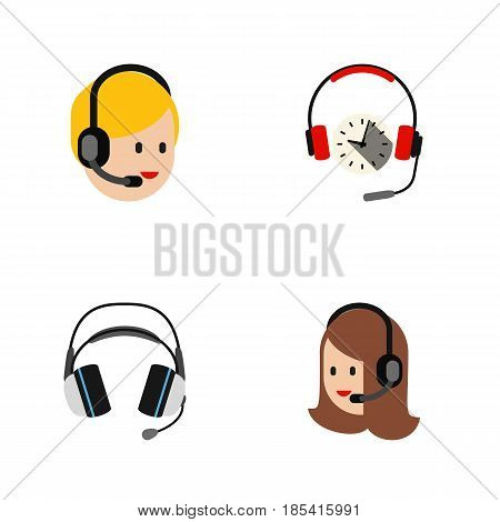 Flat Call Set Of Earphone, Headphone, Call Center And Other Vector Objects. Also Includes Headset, Center, Earphone Elements.