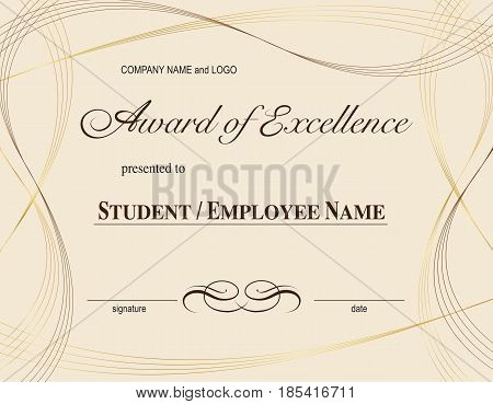 graphic design editable for your design, award of excellence certification. Vector Illustration.