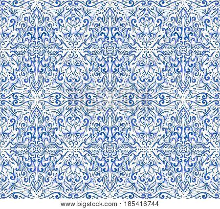 Seamless blue damask pattern on a white background.