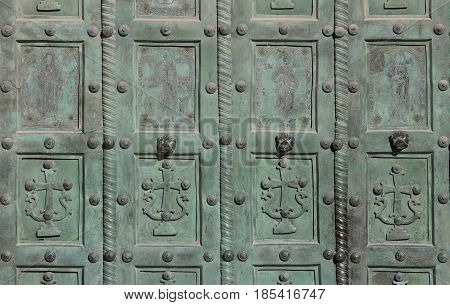 detail of the central door gate of the Cathedral the main church in the city of Salerno Italy