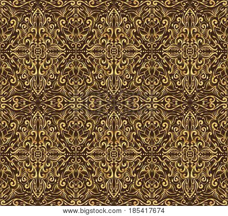 Seamless golden damask pattern on a dark brown background.