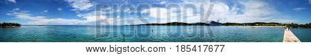 The panoramic view of Mahogany Bay on Roatan Island (Honduras).