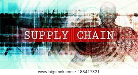 Supply chain Sector with Industrial Tech Concept Art