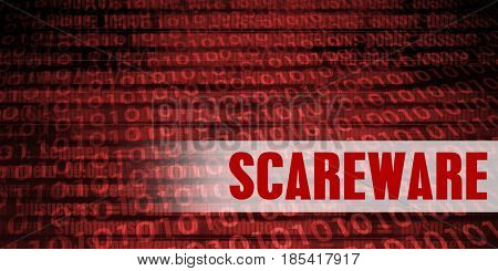 Scareware Security Warning on Red Binary Technology Background