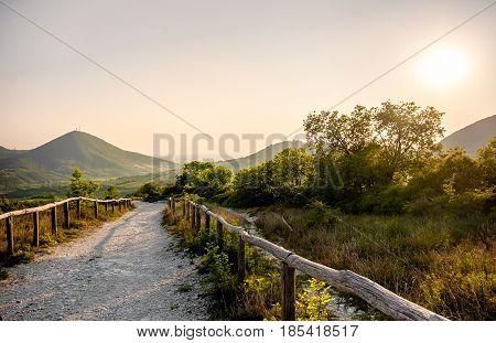 Euganean Hlls area Pianoro del Mottolone trail Padua Italy Veneto region
