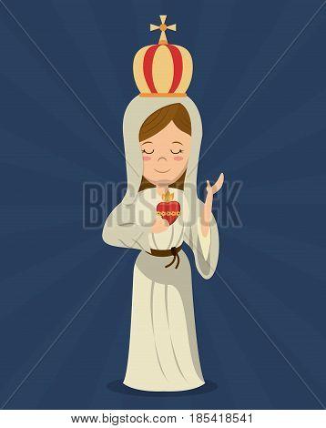 virgin mary sacred immaculate heart religion vector illustration