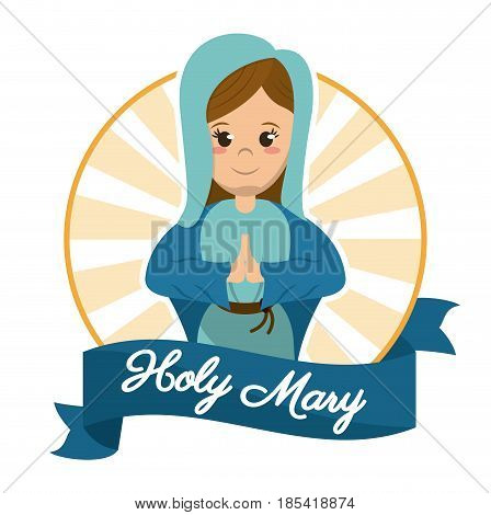 holy mary prayer religious sanctified image vector illustration