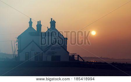 January 26, 2017 Whitstable, Kent, England: Beautiful sunset on the seashore of Whitstable, Kent, UK