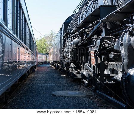 Detail of the black painted locomotive engine known as Santa Fe 5021 at California State Railroad Museum in Sacramento