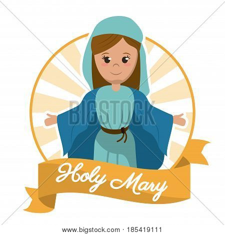 holy mary christianity glory image vector illustration