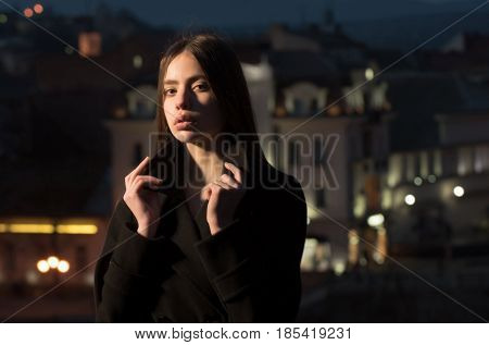 Woman In Light Of Street Lamps, Girl At Night City