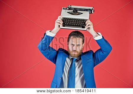 Handsome Man With Typewriter In Fashion Business Suit