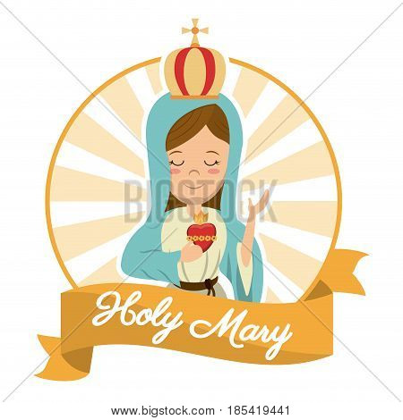 holy mary sacred heart belief spirit image vector illustration
