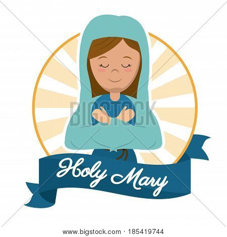 holy mary preach glory catholic image vector illustration