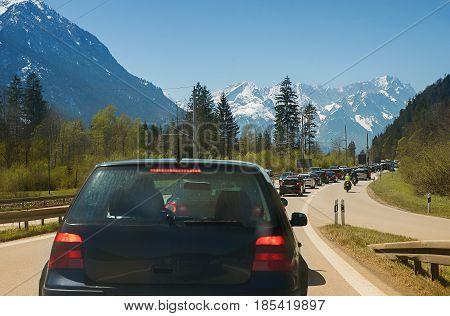 car accumulation at the ending of garmisch highway holiday traffic upper bavaria
