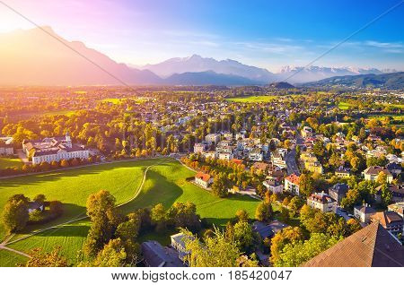 Beautiful View Of Salzburg With Festung Hohensalzburg, Panorama,