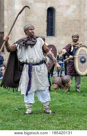 ALBA IULIA ROMANIA - APRIL 29 2017: Dacian soldier in battle costume present at APULUM ROMAN FESTIVAL organized by the City Hall.