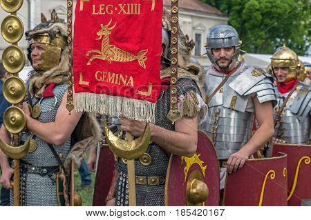 ALBA IULIA ROMANIA - APRIL 30 2017: Roman soldiers in battle costume present at APULUM ROMAN FESTIVAL organized by the City Hall.