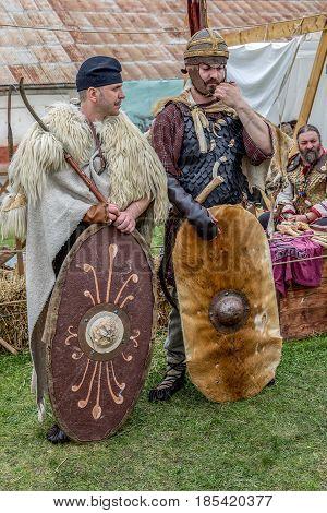 ALBA IULIA ROMANIA - APRIL 30 2017: Dacian soldiers in battle costume present at APULUM ROMAN FESTIVAL organized by the City Hall.