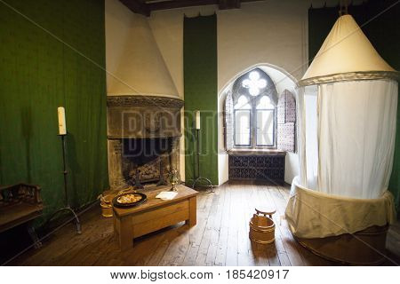 January 25, 2017 Leeds Castle, England: Typical interior of an English castle. The bathroom.
