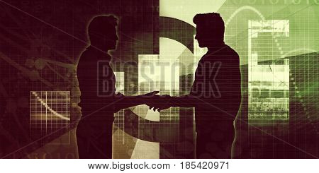 Business Partners with a Handshake Concept Silhouette 3D Illustration Render