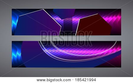 Horizontal Web Banner Background Blue Purple Neon Effect02